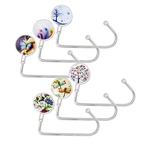 6 Stück Handtaschenhaken Handtasche Hange Lang Geldbörse Hook für Tisch Schreibtisch, Creatiees Taschenhaken Taschenhalter für Frauen Mädchen Taschen Aufbewahrung Geschenk(6