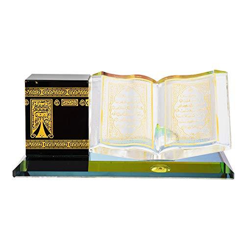 Hztyyier Muslimische Kristall vergoldete Kaaba Buch Miniatur Modell Prunkstück islamische Architektur Handwerk Startseite Tisch Dekor islamische Gebäude Geschenk Auto Ornament
