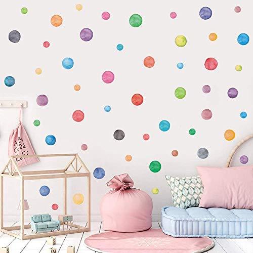 Tupfen Wandstickers,Bunte Punkte Wandtattoos,Aquarell Polka Dots Wandtattoo für Kinderzimmer,Abnehmbare Vinyl Kreise Pastell Wandaufkleber für Schlafzimmer Mädchen Klassenzimmer Babyzimmer Spielzimmer