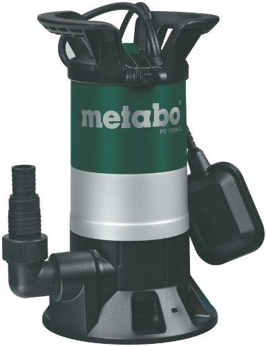 Metabo Schmutzwasser-Tauchpumpe PS 1500 S | inkl. Winkelanschlussstück mit Mulitadapter, Schwimmschalter | 251500000