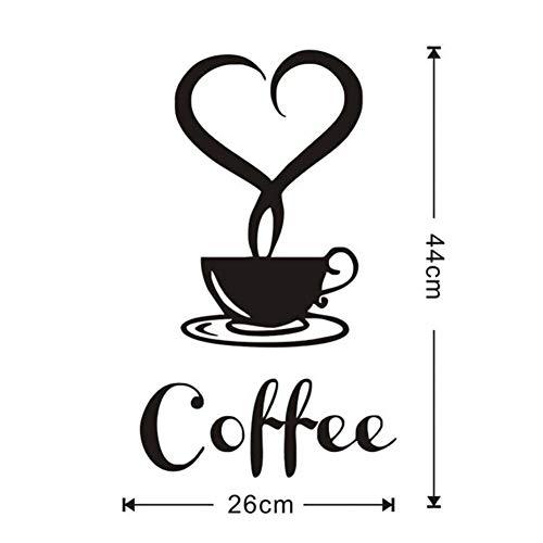 Unbekannt TPCAHY Kaffeetasse Mit Herzförmigen Vinyl Wandaufkleber Für Restaurant Küche Abnehmbare...