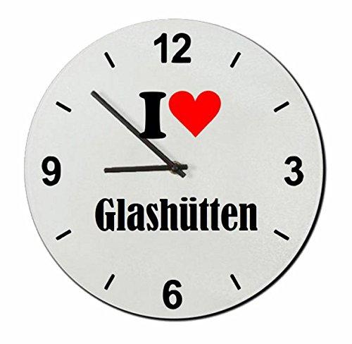 EXCLUSIVO: Vidrio de reloj 'I Love Glashütten' una gran idea para un regalo para su pareja, colegas y muchos más! - reloj, Regaluhr, Regalo, Amo, Made in Germany.