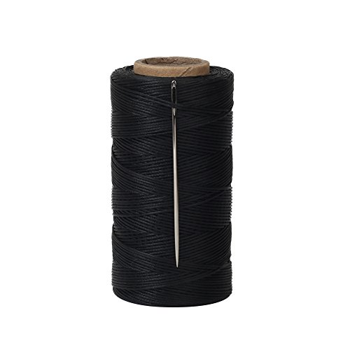 Tenn Well Waxed Thread, 328 Yards 150D 1MM Leather Sewing Waxed Thread with Needles for Leather DIY Project(Black)