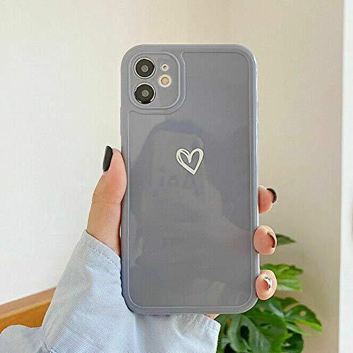 ZTOFERA TPU Funda para iPhone XR, Funda de TPU Suave Brillante con Patrón De Corazón Simple, Delgado Ligero Protector De Parachoques Para Iphone XR - Gris