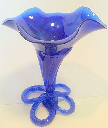 Oberstdorfer Glashütte Chandelier sur Pied pour des Bougies de Boule, en Verre coloré Bleu, Bouche soufflee, Hauteur: env. 13 cm