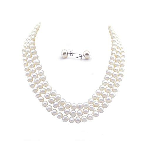 Akwaya File di perle d acqua dolce bianche collana (6.5–7.5mm), 41,9cm/43,2cm/45,7cm con set orecchini