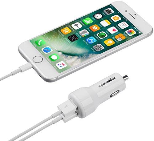 AmazonBasics - Caricabatterie per auto 4.8 A/24 W 2 porte USB per dispositivi Apple e Android, Bianco