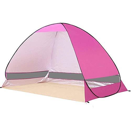 IREANJ Tienda de campaña familiar con domo, pequeña y portátil, para 2 a 3 personas, automática, impermeable, para playa, refugio al aire libre, cabaña y tienda de campaña al aire libre (color rosa