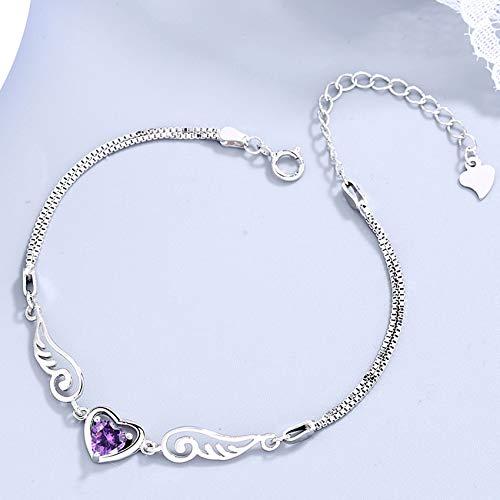 WCOCOW Feng Shui Pulsera De Riqueza para Mujeres Sterling Silver Wing Forma De Corazón con Incrustaciones Púrpura Pulsera De Circón Ajustable Fuerte Talisman Amuleto Atraer Dinero Suerte