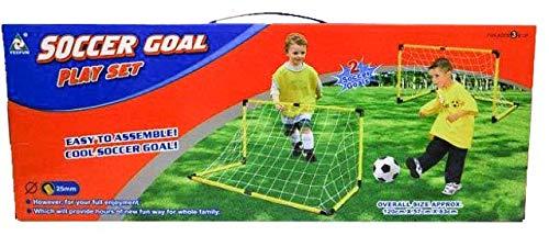Jollity Works - Porterías de Fútbol Set 2 Unidades con Red, Pelota e Inflador, 120 cm X 63cm X 57 cm.