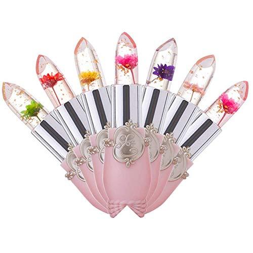6PCS Transparente Farbänderung Lippenbalsam Feuchtigkeitscreme Rosa Kristallgelee Blumen Make-up...