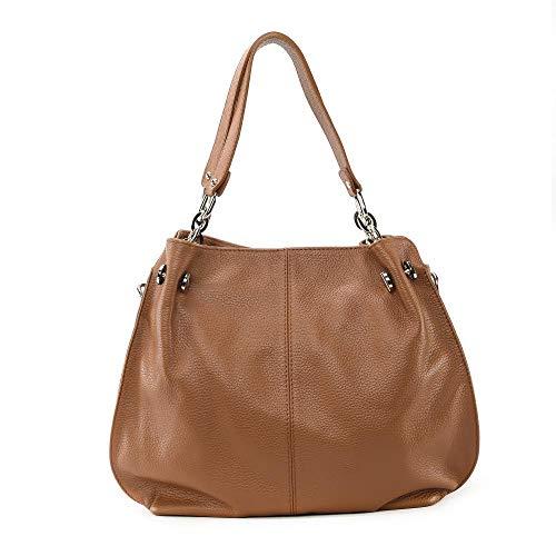 OH MY BAG, borsa modello Denzel in vera pelle goffrata portato spalla e mano e tracolla – Made in Italy – Elegant-Blue, taglia unica, (cognac), Taglia unica
