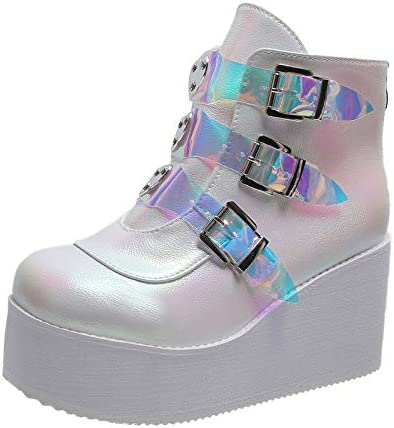 Richealnana Women's Goth Boots Motorcycle Now Max 70% OFF free shipping Platform Wedges Combat