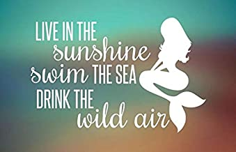 CELYCASY Live in The Sunshine - Swim The Sea - Drink The Wild Air - Mermaid Decal - Car Decal - Car Sticker - Laptop Decal - Laptop Sticker