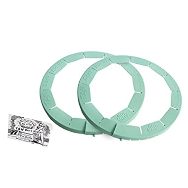 Talisman Designs Adjustable Pie Crust Shield, BPA-free Silcone, Aqua, Fits 8.5  - 11.5  Rimmed Dish, set of 2