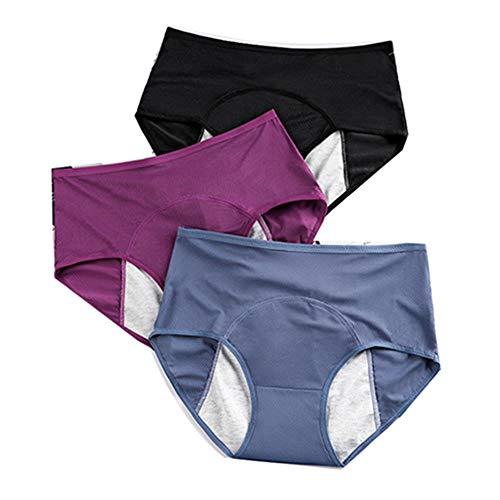 Ongeacht 3 stuks dames hoge taille onderbroeken menstruatie lekvrij katoenen slip ondergoed, comfortabel ademend, voorkomt lekken aan de zijkant