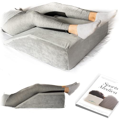 Bed Wedge Pillow for Legs - Memory Foam Triangle ramp Designed to Reduce Acid Reflux, Snoring - King Sized Leg Elevation Medical Support for Post Surgery - Pregnancy - Liberator (Dark Grey)