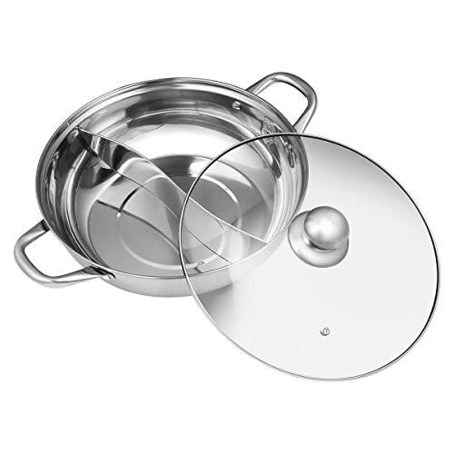 BESTONZON Olla Caliente Olla De Pato Mandarín Cocina Cazuela Sopa Herramienta de cocina, 2 Grid 2 Taste 304 Hot Pot de acero inoxidable con tapa de vidrio (30 cm)