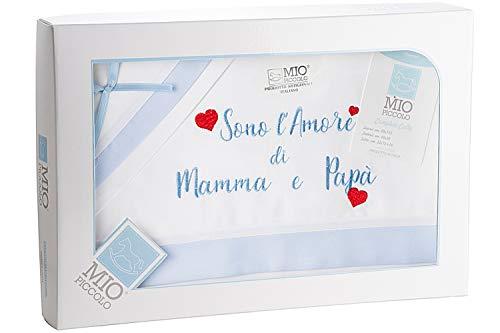 Mio piccolo Lenzuola Culla Carrozzina Navicella Neonato Neonata Cotone 100% Made in Italy Artigianali Confezione Regalo Neomamma Bambino Bambina Lenzuolina (Celeste)