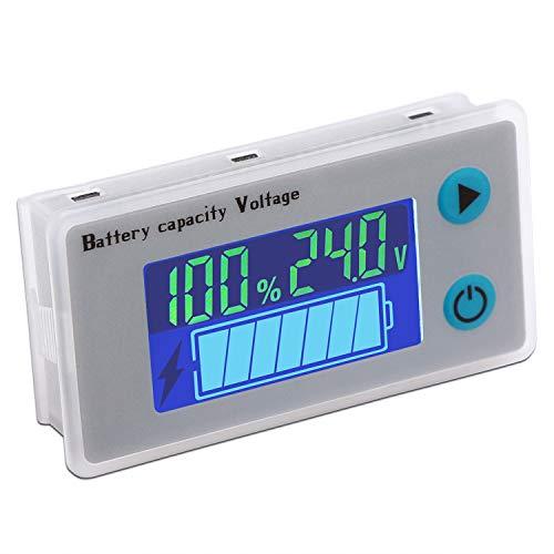 Monitor de voltaje de capacidad de batería de 24 V, Droking indicador de batería de plomo ácido multifuncional Medidor de voltaje de temperatura Probador con pantalla LCD a color