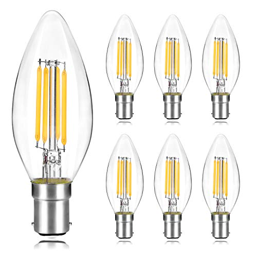 Wedna B15 LED Filament Candle Bulbs, Small Bayonet Cap 4W C35 Glass Light Bulb, 40W Incandescent Equivalent, Warm White 2700K Non-Dimmable - 6 Pack