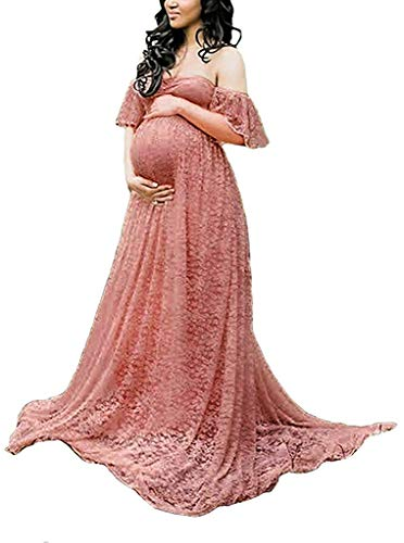 Frauen Schwangerschaftskleid, Damen Spitzenkleid Schulterfreies Kleid Fotografie Kleidung Maxikleid Off Schultern Mutterschaft Langarm Maxi Kleid Rosa2 M