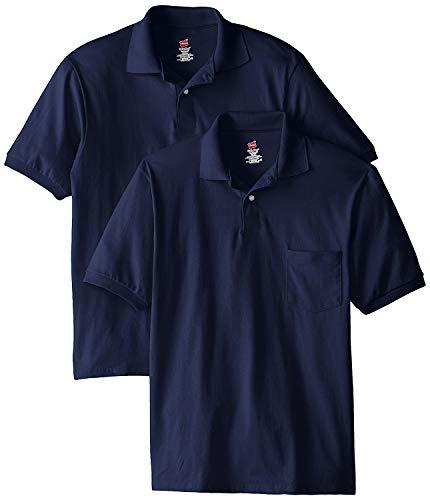 Hanes Men's Cotton-Blend EcoSmart Pocket Jersey Polo_Navy_3XL