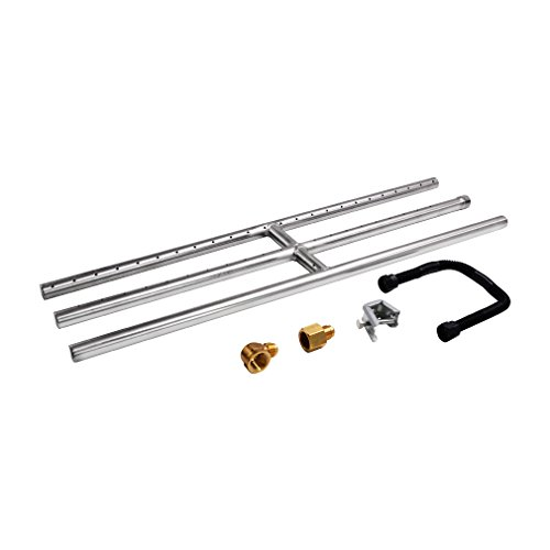 """Skyflame 30"""" x 6"""" Rectangular Gas Fire Pit and Fireplace H-Burner with 3 Pipes - 304 Stainless Steel - for Indoor & Outdoor Use"""