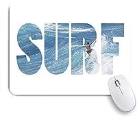 ECOMAOMI 可愛いマウスパッド ハワイの巨大な海の波に乗るWordSURF 滑り止めゴムバッキングマウスパッドノートブックコンピュータマウスマット