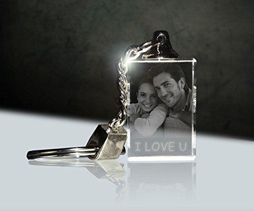 3Dglas Glas Schlüsselanhänger mit deinem Foto per Laser graviert