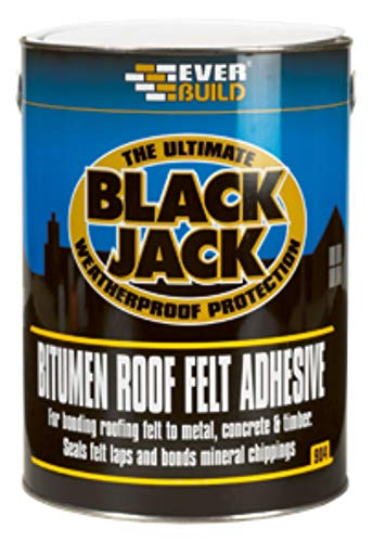 Everbuild Black Jack 904 Bitumen Roof Felt Adhesive with Free Brush and Gloves 5 litres