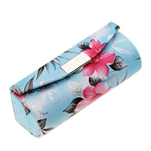 MagiDeal Trousse de Toilette Sac de Rangement à Rouge à Lèvres/Baume à Lèvres avec Miroir - Coffret Bijoux Exquis - Style à la Chinoise - Bleu
