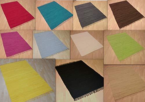 MB Warenhandel24 Handwebteppich Fleckerlteppich gestreift 100% Baumwolle Handweb Teppich Fleckerl Waschbar NEU (Schoko gestreift, ca. 120x180 cm)