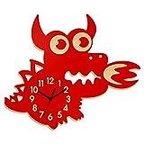 Reloj de pared 3D para niños con diseño de dragón, silencioso, funciona con pilas, decorativo, fácil de leer, para habitación de los niños, aula, color rojo