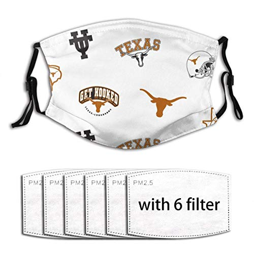 University of UT Texas Unisex Windproof and Dustproof Reusable Mouth Covering,Face Cover with Adjustable Elastic Strap with 6 Filters