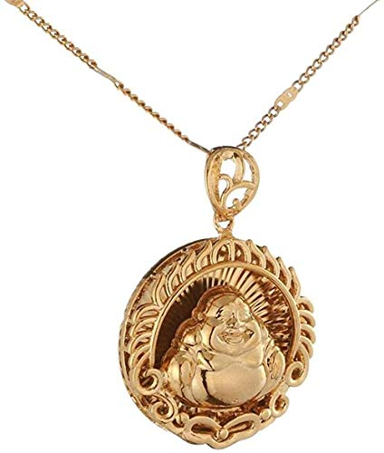 N-G Trendy Buddhism Jewelry for Women Gold Color Maitreya Buddha Pendant Necklace Bless Jewelry