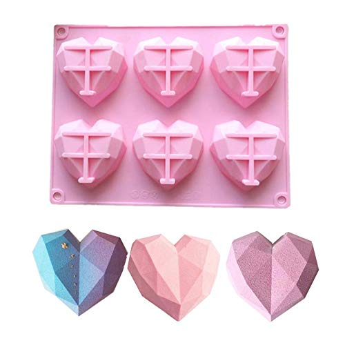 6-Cavity 3D Love Heart Diamond Shaped Mold Silicone Bakeware Molds Mousse Pastry Tools Handmade Tray DIY Tool (Pink)