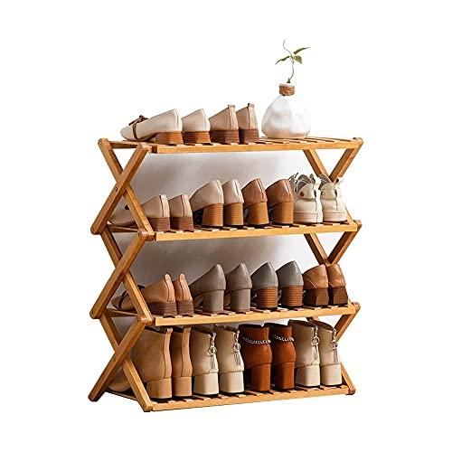 Yirunfa Zapatero de Bambú Plegable, Estante Plegable para Zapatos, Zapatero de Bambú No Requiere Montaje, para el Hogar, Sala de Estar, Balcón, Baño L:70/100CM