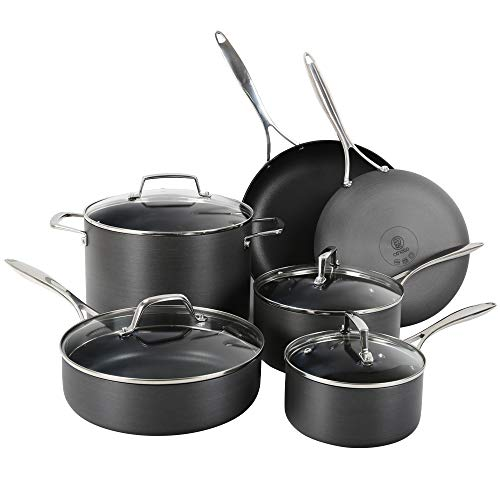 Othello 10-Piece Hard Anodized Cookware Set Nonstick, Professional Quality Pots + Pans, Oven Safe, PFOA Free