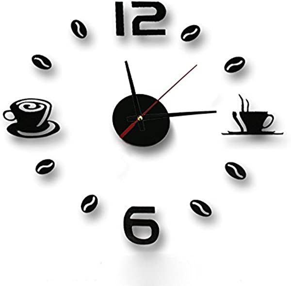 Giulot Coffee Cups Beans 3D DIY Wall Clock Acrylic Stickers Quartz Modern Home Decoration Retro Kitchen Wall Clock Silent Watch Decals Frameless Coffee Drinking Cups Modern Art Wall Clock