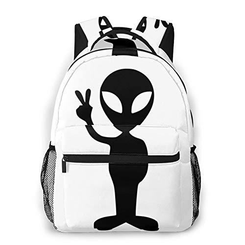 Backpack Travel Resistant Casual School Book Bags College Laptop Daypack For Women Girls Boys (Cartoon Alienware)