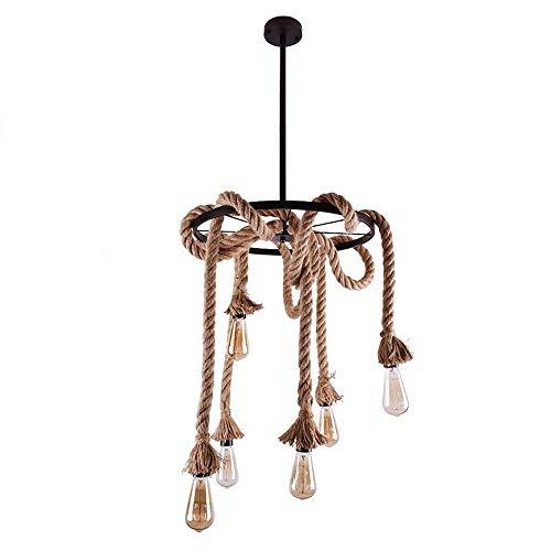 L-YINGZON comodino e Lampade da tavolo, Industrial ferro Lampadari, 8 luci Antico creativa LED Twine rotella rotondo lampadario decorativi Lampadari americano Negozio di abbigliamento Tavolo da pranzo