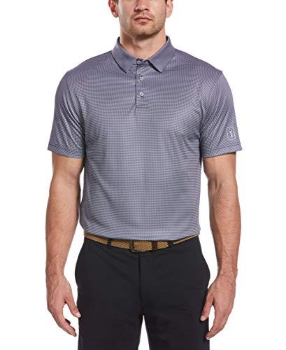 PGA TOUR Men's Mini Gingham Print Short Sleeve Golf Polo Shirt, Peacoat, XX Large
