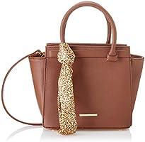 Club Aldo Faux Leather Front-Logo Leopard-Pattern Tie Top-Handle Trapeze Crossbody Bag for Women