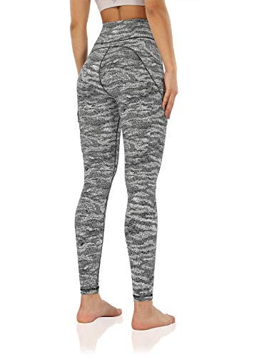 ODODOS Women's High-Rise Cargo Pockets Yoga Pants Full-Length Workout Yoga Cargo Leggings, Jaquard Black White, Small