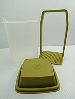Vintage Tupperware - Clear w/ Avocado Green Lid Pick a Deli - Pickles / Olive 3 Piece Storage Container - 8 1/2 Inches High By 4 1/2 Inches Wide