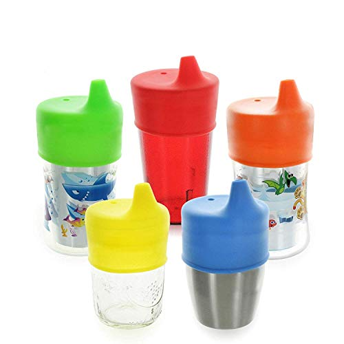 Sippy Cup Lids by Healthy Sprouts - (5 Pack) - Make Any Kids Cup or Toddler Cup Spill Proof - Great for Toddlers, Infants, Babies (Red, Blue, Yellow)