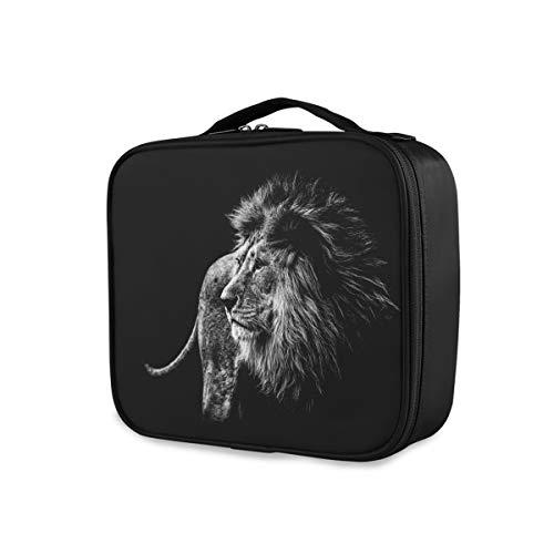 Outils de voyage Cosmétique Train Case Portable Organisateur Trousse De Toilette De Stockage Noir Nuit Lion Maquillage Sac