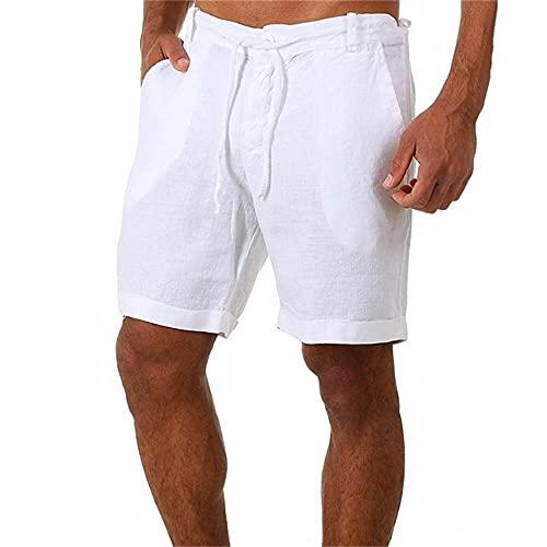 N\P Pantalones cortos casuales de lino de color sólido de lino para hombre