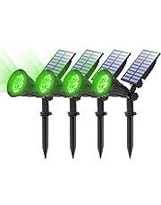 (4 Unidades )T-SUN Foco Solar, Impermeable Luces Solares Exterior, Luz de Jardín, 2 Modos de Iluminación Opcionales, ángulo de 180° Ajustable, Luz de Proyecto Solar para Entrada, Camino.(Verde)